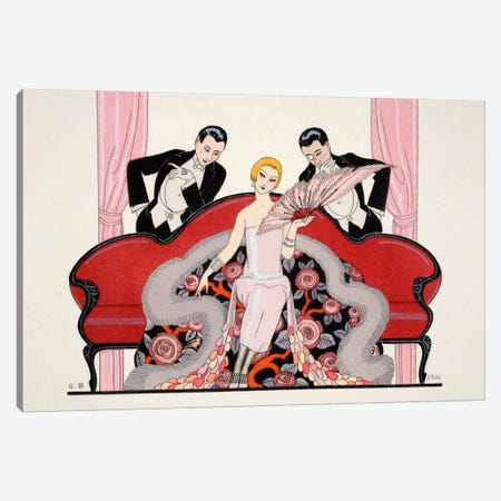 Detail of the front cover of 'Falbalas & Fanfreluches, Almanach des Modes Présentes Canvas Print #BMN44} by George Barbier Canvas Art Print