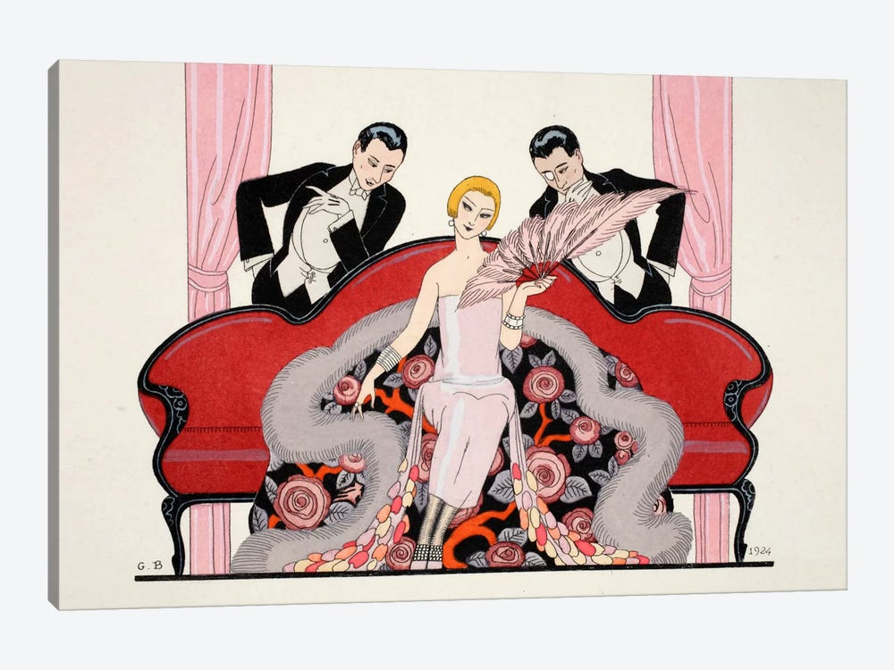 Detail of the front cover of 'Falbalas & Fanfreluches, Almanach des Modes Présentes by George Barbier 1-piece Canvas Wall Art