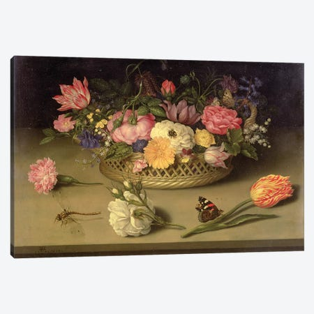 A still life of flowers, a dragonfly and a red admiral, 1614 Canvas Print #BMN4501} by Ambrosius the Elder Bosschaert Canvas Print