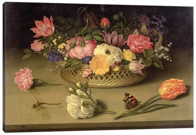 A still life of flowers, a dragonfly and a red admiral, 1614 Canvas Art Print