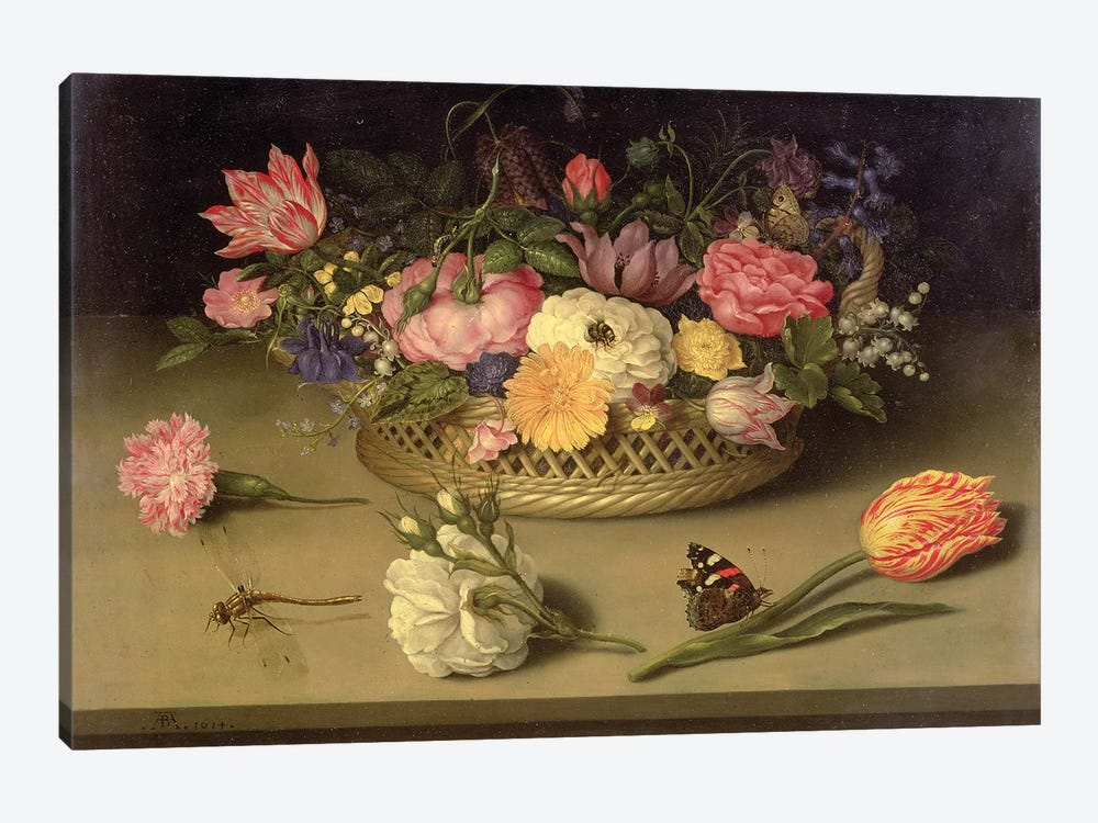 A still life of flowers, a dragonfly and a red admiral, 1614 by Ambrosius the Elder Bosschaert 1-piece Canvas Artwork