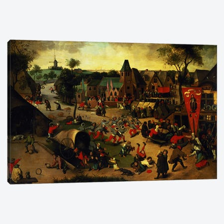 A Carnival on the Feast Day of St. George in a village near Antwerp  Canvas Print #BMN4503} by Abel Grimmer Canvas Print