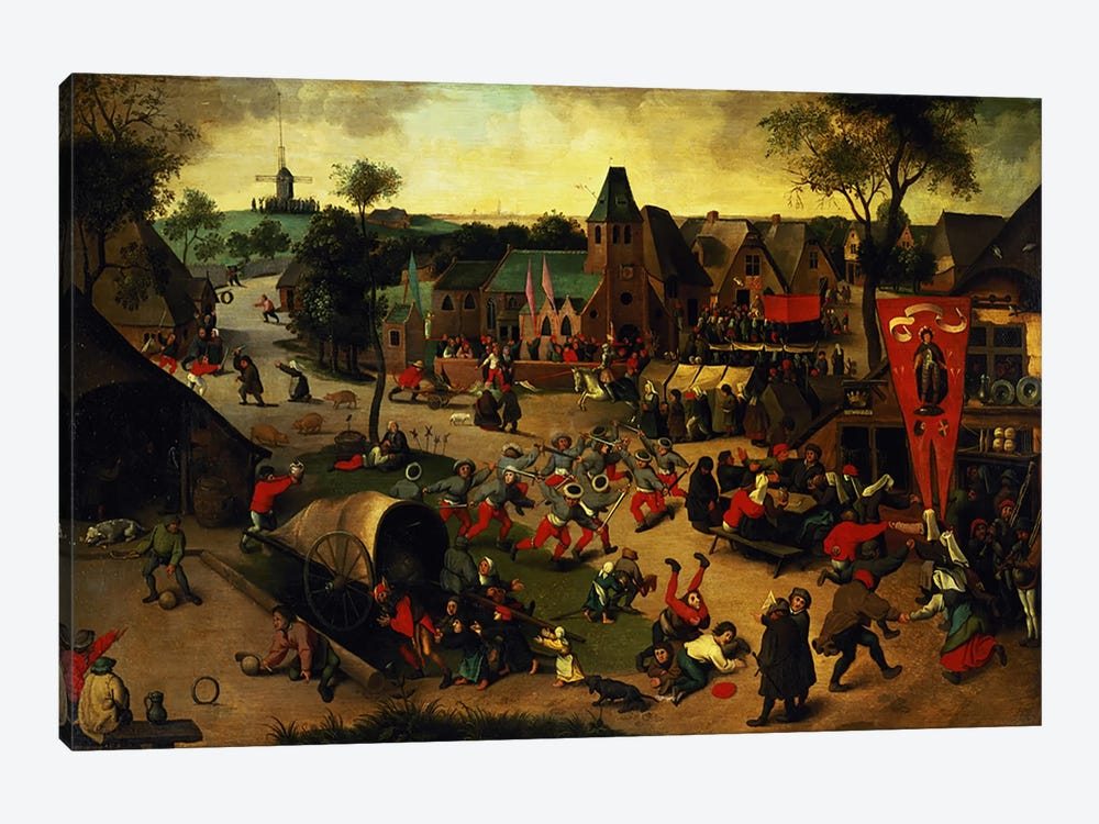 A Carnival on the Feast Day of St. George in a village near Antwerp  by Abel Grimmer 1-piece Canvas Wall Art