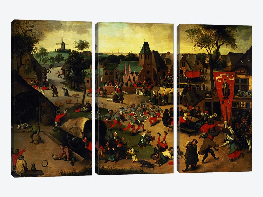 A Carnival on the Feast Day of St. George in a village near Antwerp  by Abel Grimmer 3-piece Canvas Wall Art
