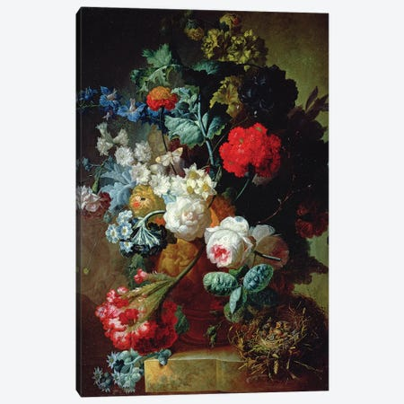 Still Life, Flowers and bird's nest Canvas Print #BMN4504} by Jan van Os Canvas Artwork