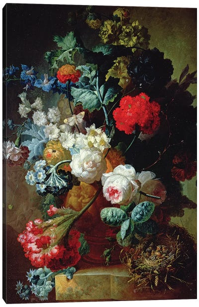 Still Life, Flowers and bird's nest Canvas Art Print
