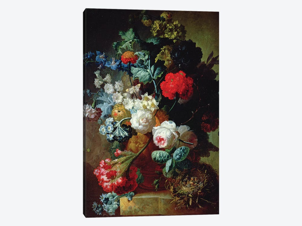 Still Life, Flowers and bird's nest by Jan van Os 1-piece Canvas Print