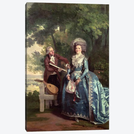 A lady and gentleman in a landscape Canvas Print #BMN4505} by Benjamin Wilson Canvas Wall Art