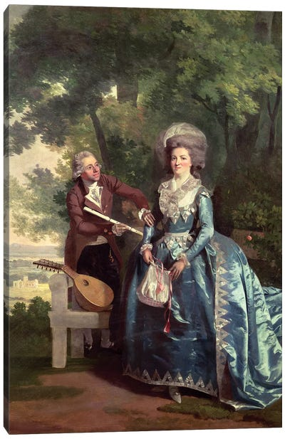 A lady and gentleman in a landscape Canvas Art Print