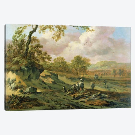 A Wooded River Landscape with Peasants on a Path Canvas Print #BMN4506} by Jan Wynants Canvas Artwork