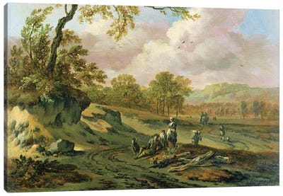 A Wooded River Landscape with Peasants on a Path Canvas Art Print