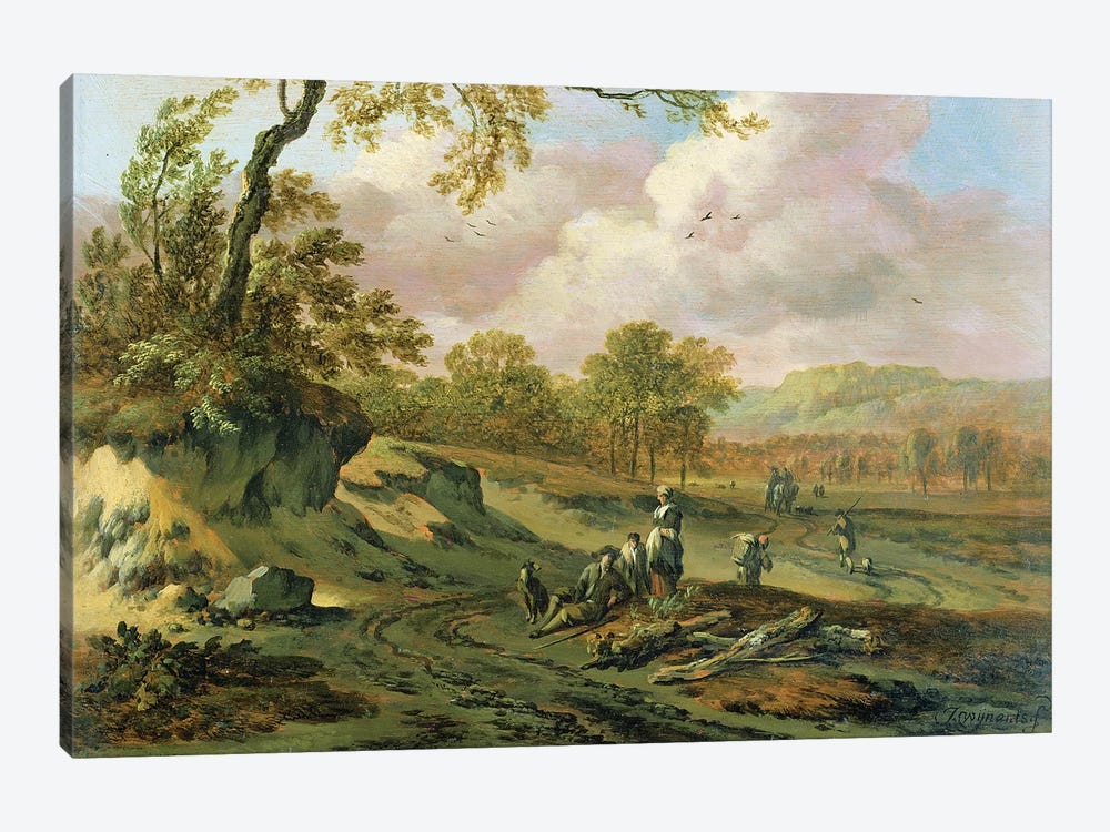 A Wooded River Landscape with Peasants on a Path by Jan Wynants 1-piece Art Print
