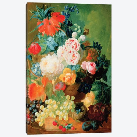Still Life with fruit, flowers and bird's nest Canvas Print #BMN4509} by Jan van Os Art Print