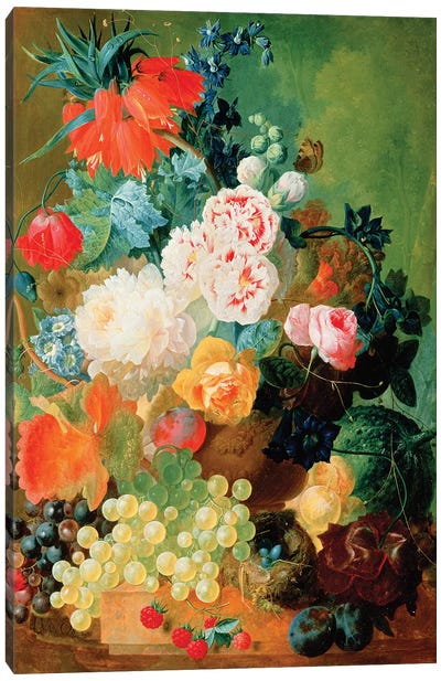 Still Life with fruit, flowers and bird's nest Canvas Art Print