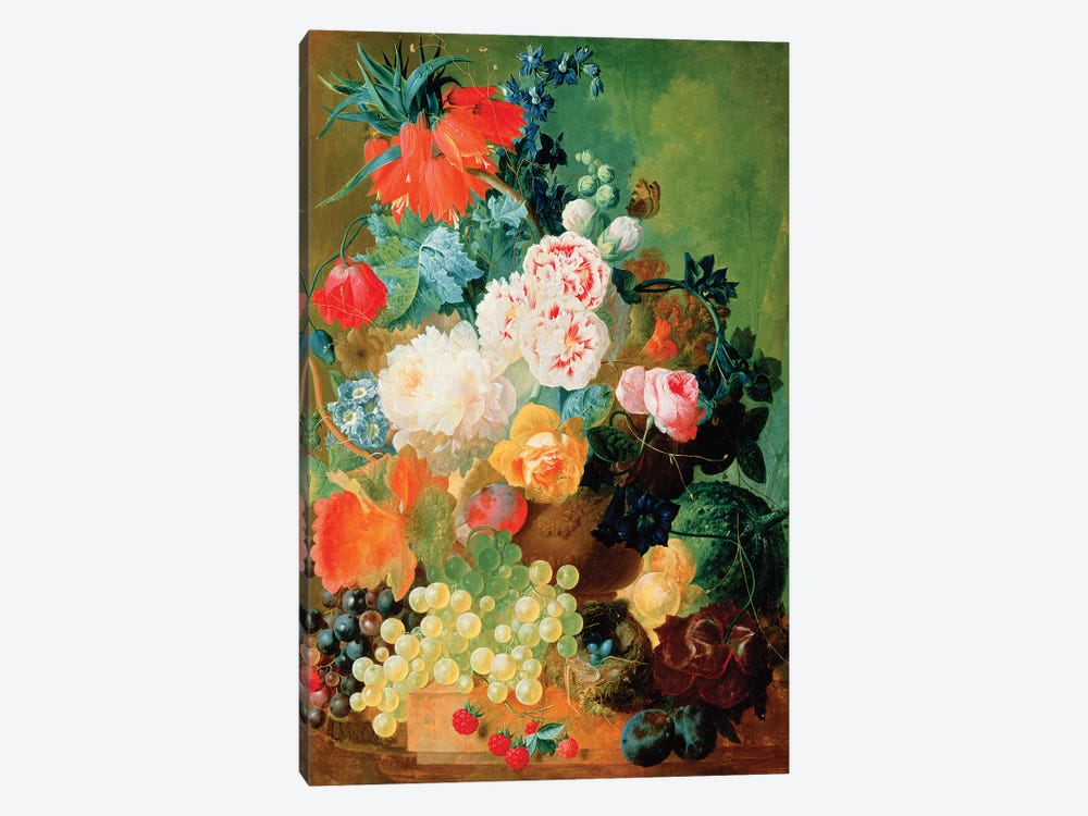Still Life with fruit, flowers and bird's nest by Jan van Os 1-piece Canvas Art