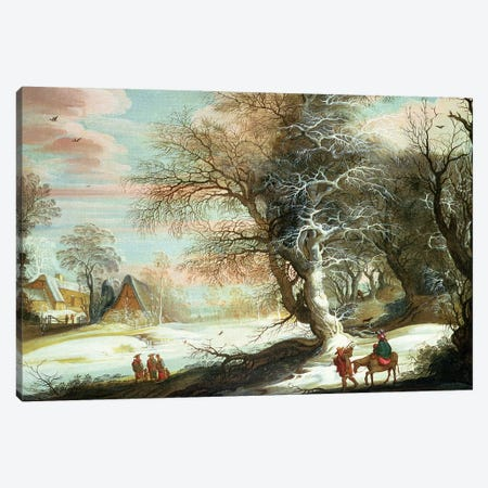 Wooded winter landscape with Flight into Egypt Canvas Print #BMN4510} by Gysbrecht Leytens Canvas Artwork