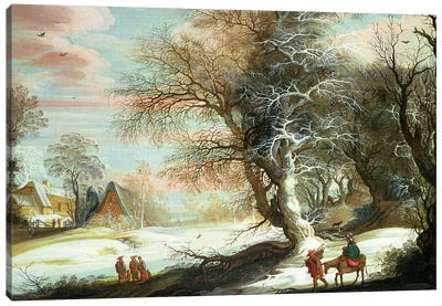 Wooded winter landscape with Flight into Egypt Canvas Art Print
