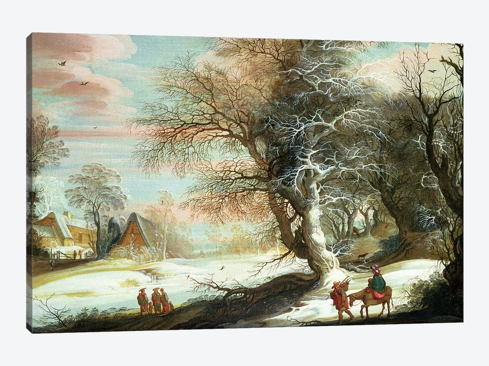 Wooded winter landscape with Flight into Egypt by Gysbrecht Leytens 1-piece Canvas Art
