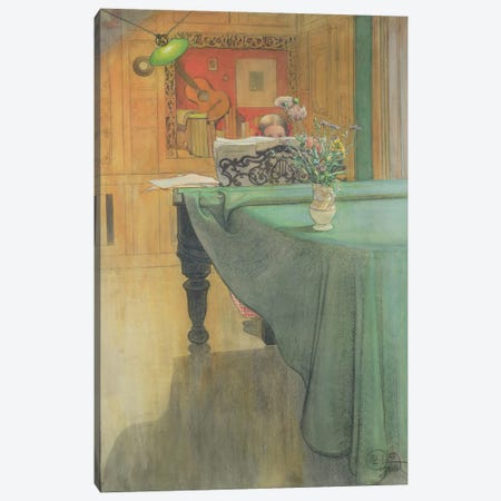 Brita at the Piano, 1908  Canvas Print #BMN4511} by Carl Larsson Canvas Artwork