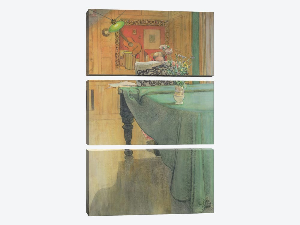 Brita at the Piano, 1908  by Carl Larsson 3-piece Art Print