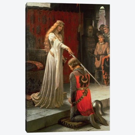 The Accolade, 1901  Canvas Print #BMN4513} by Edmund Blair Leighton Canvas Artwork