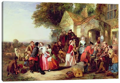 The Arrival of the Coach, 1850 Canvas Art Print