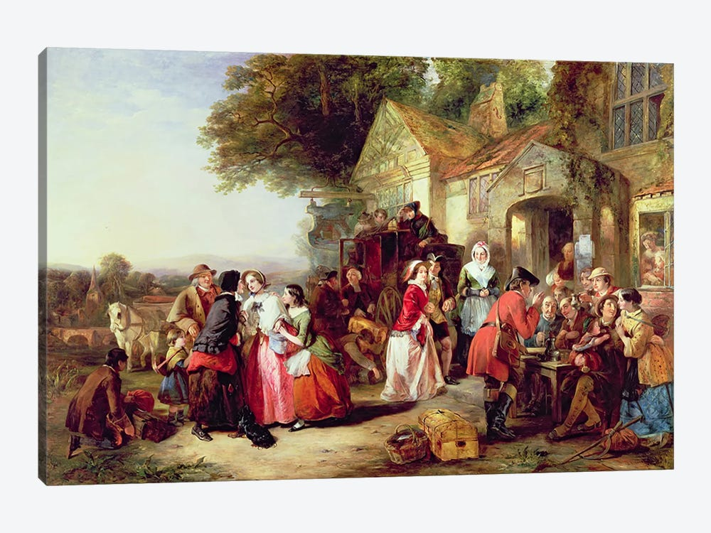 The Arrival of the Coach, 1850  by Thomas Falcon Marshall 1-piece Canvas Print