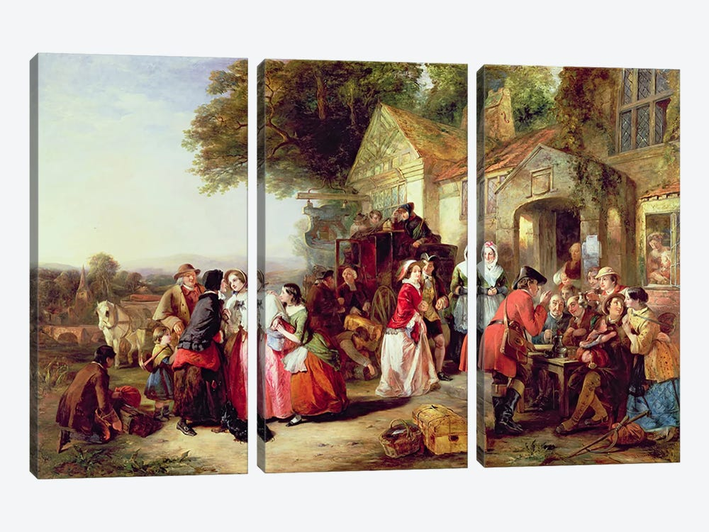 The Arrival of the Coach, 1850  by Thomas Falcon Marshall 3-piece Canvas Print