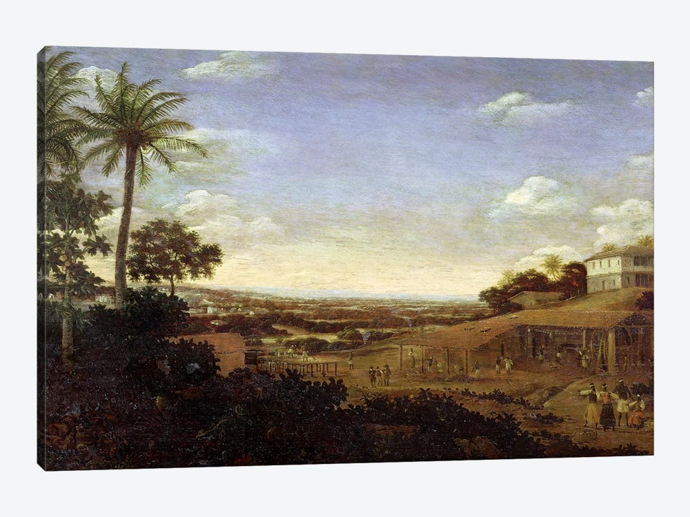 Brazilian landscape with sugar mill, armadillo and snake, River Varzea by Frans Jansz Post 1-piece Canvas Artwork