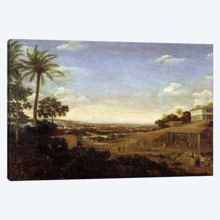 Brazilian landscape with sugar mill, armadillo and snake, River Varzea Canvas Print #BMN4516} by Frans Jansz Post Canvas Art Print