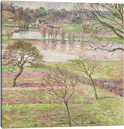 The Flood at Eragny, 1893 Canvas Art Print