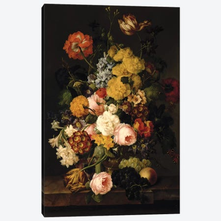 Still Life - Roses, tulips and other flowers Canvas Print #BMN4518} by Franz Xavier Petter Canvas Wall Art