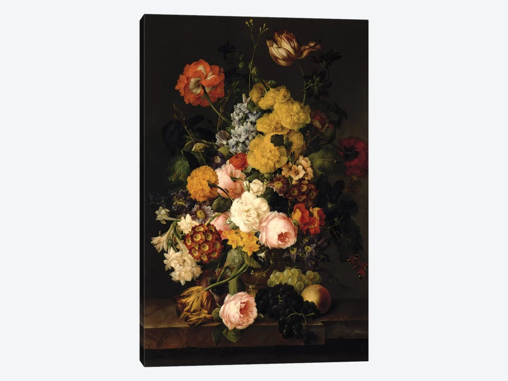 Still Life - Roses, tulips and other flowers by Franz Xavier Petter 1-piece Canvas Artwork