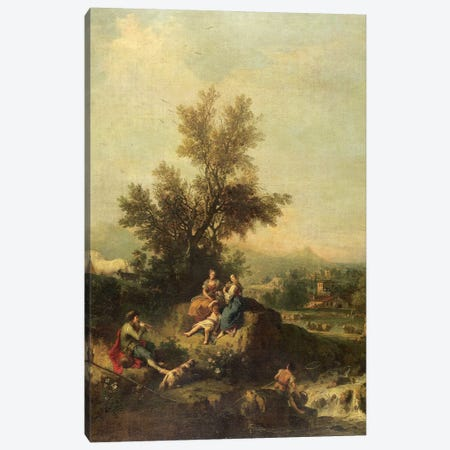 Italianate wooded landscape with a shepherd boy piping to peasant women Canvas Print #BMN4521} by Francesco Zuccarelli Canvas Print