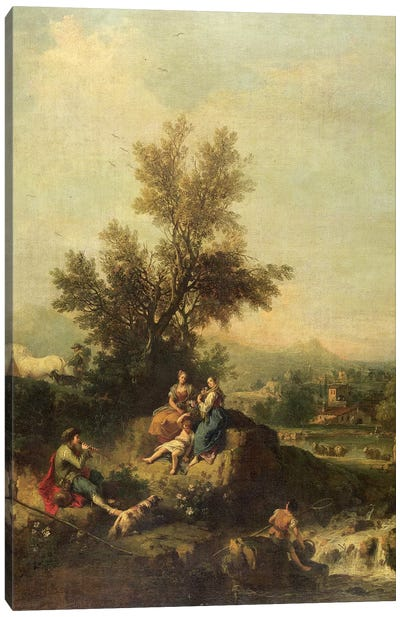 Italianate wooded landscape with a shepherd boy piping to peasant women Canvas Art Print