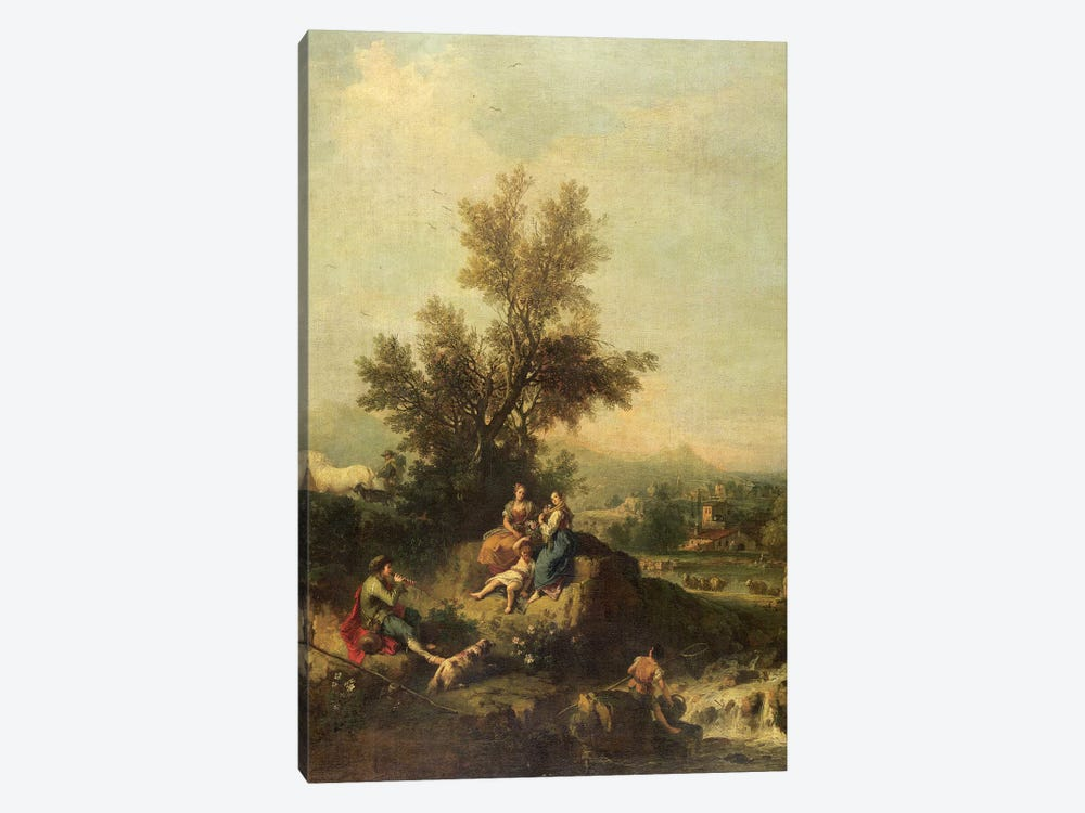Italianate wooded landscape with a shepherd boy piping to peasant women by Francesco Zuccarelli 1-piece Canvas Wall Art