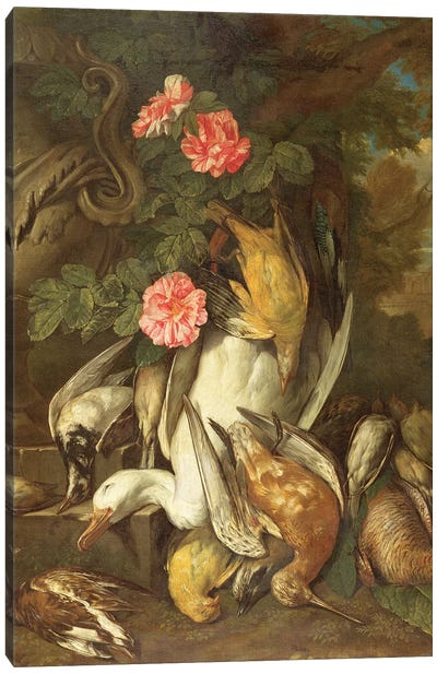 Dead duck, Snipe, Finches and Other Dead Birds with Roses and Urn in a Wooded Landscape Canvas Art Print