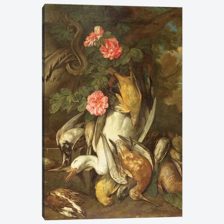 Dead duck, Snipe, Finches and Other Dead Birds with Roses and Urn in a Wooded Landscape Canvas Print #BMN4522} by Jan Fyt Canvas Print