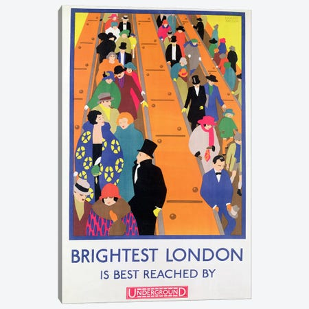Brightest London is Best Reached by Underground, 1924, printed by the Dangerfield Co Canvas Print #BMN4523} by Horace Taylor Art Print