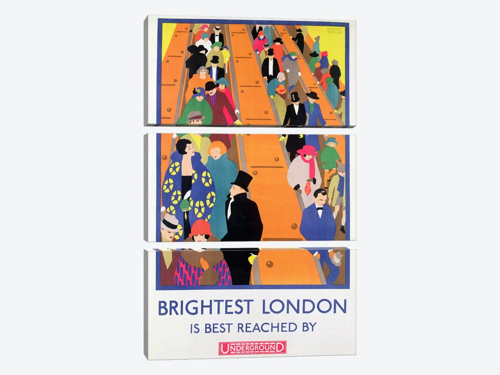 Brightest London is Best Reached by Underground, 1924, printed by the Dangerfield Co 3-piece Canvas Wall Art
