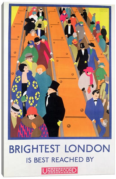 Brightest London is Best Reached by Underground, 1924, printed by the Dangerfield Co Canvas Art Print