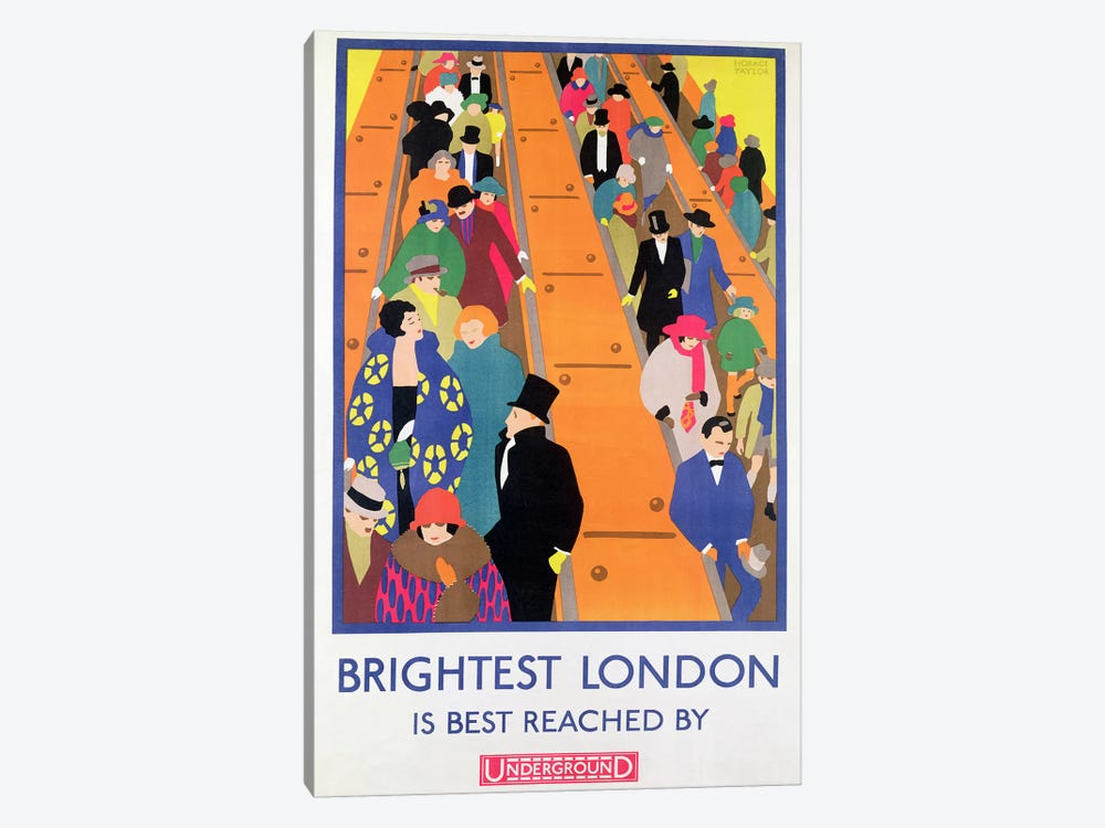 Brightest London is Best Reached by Underground, 1924, printed by the Dangerfield Co by Horace Taylor 1-piece Canvas Artwork