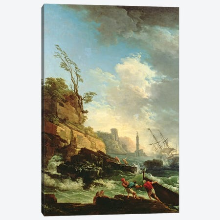 Storm on a Rocky Coast with shipwreck Canvas Print #BMN4525} by Claude Joseph Vernet Canvas Artwork