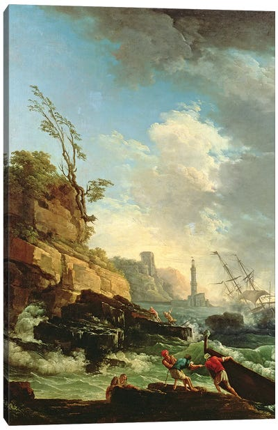 Storm on a Rocky Coast with shipwreck Canvas Art Print