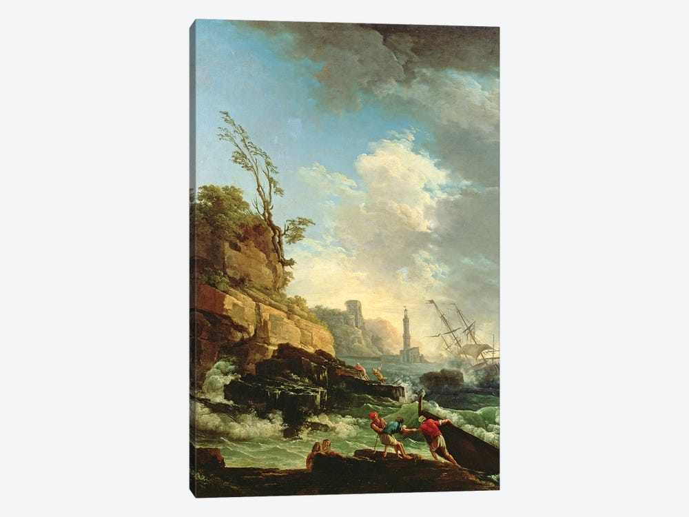 Storm on a Rocky Coast with shipwreck by Claude Joseph Vernet 1-piece Canvas Artwork