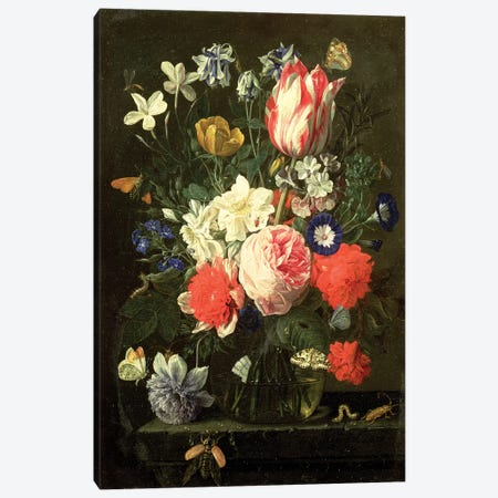Rose, tulip, morning glory and other flowers in a glass vase on a stone ledge Canvas Print #BMN4526} by Nicholaes van Verendael Canvas Art