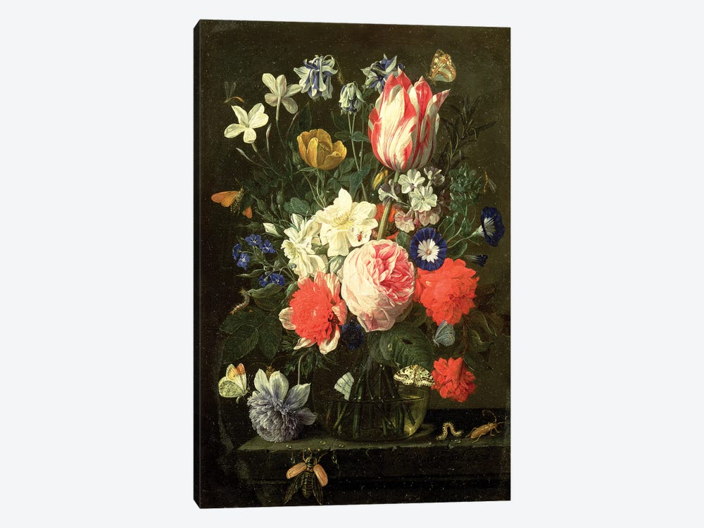 Rose, tulip, morning glory and other flowers in a glass vase on a stone ledge by Nicholaes van Verendael 1-piece Art Print
