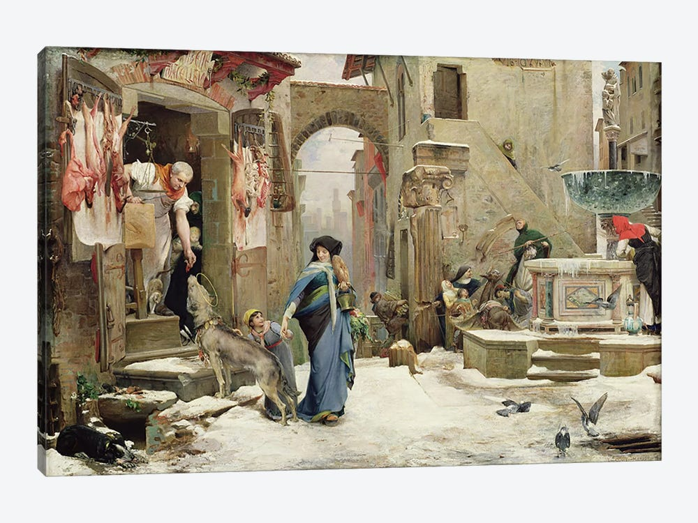 The Wolf of Gubbio, 1877  by Luc-Oliver Merson 1-piece Canvas Print