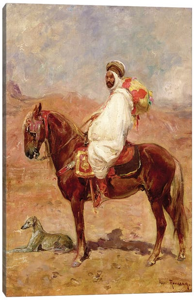 An Arab On A Horse In A Desert Landscape Canvas Art Print
