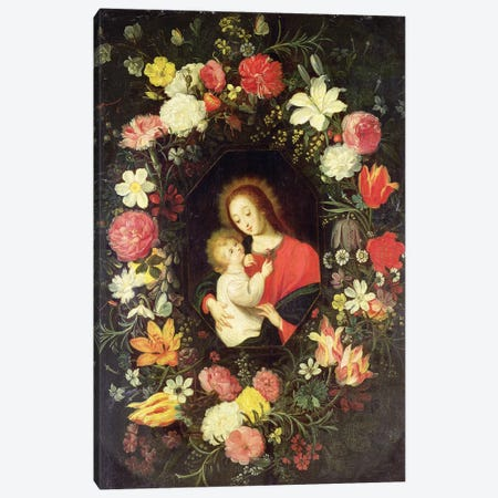 The Virgin and Child in a garland surround of flowers Canvas Print #BMN4533} by Andries Daneels Canvas Artwork